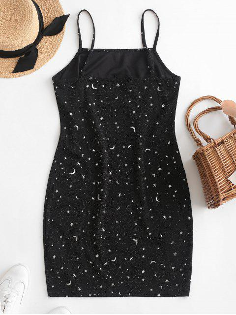 ladies ZAFUL Moon and Star Metallic Thread Cami Slit Dress - BLACK S Mobile