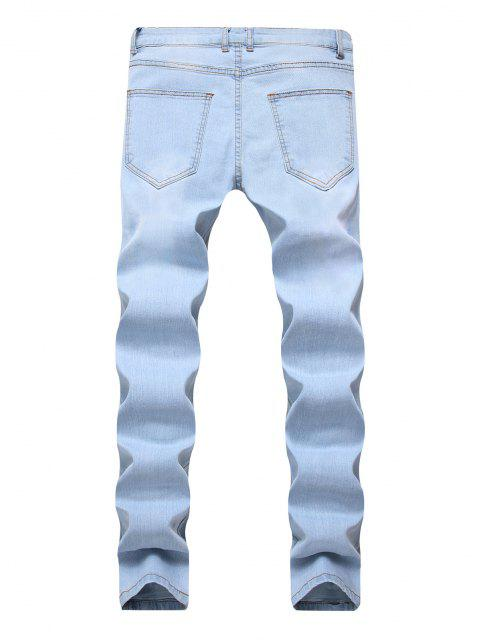 latest Floral Embroidery Destroyed Casual Jeans - JEANS BLUE 40 Mobile