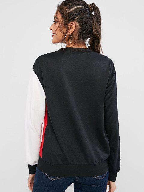 ZAFUL Sweat-shirt Graphique Fille Cool en Blocs de Couleurs - Multi XL Mobile