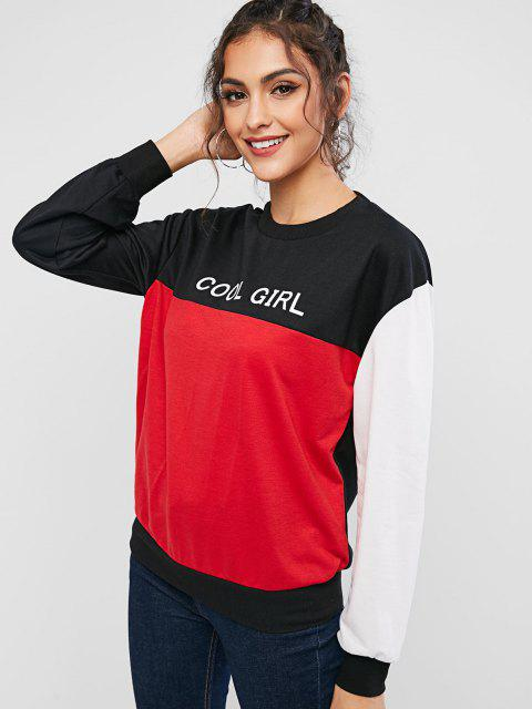 ZAFUL Cool Girl Graphic Color Block Sweatshirt - متعدد XL Mobile