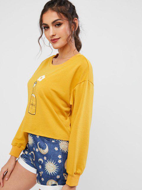 ZAFUL Sudadera de Hombro Caído con Estampado de Flores - Amarilla de Abeja  XL Mobile