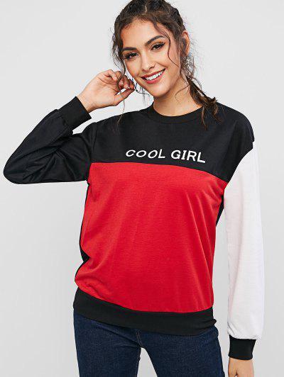 ZAFUL Cool Girl Graphic Color Block Sweatshirt - Multi L