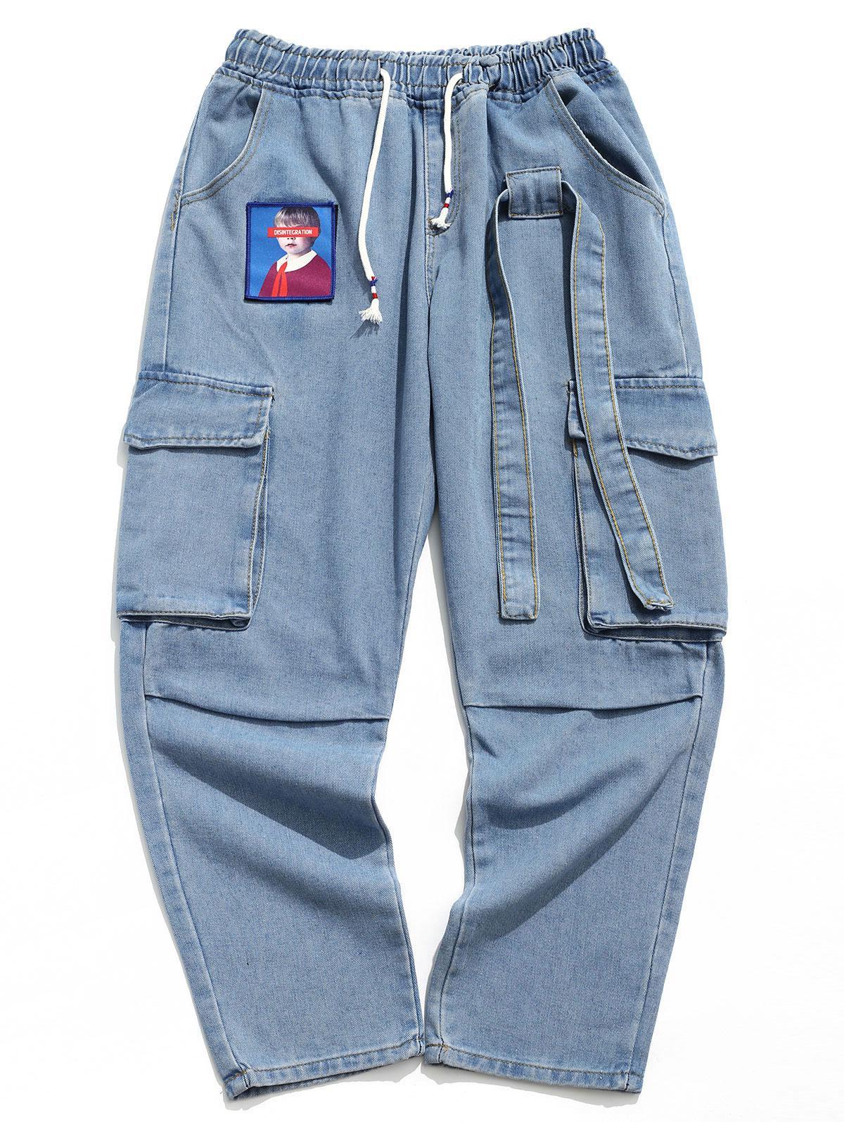Portrait Sticker Side Flap Pocket Solid Color Casual Jeans фото