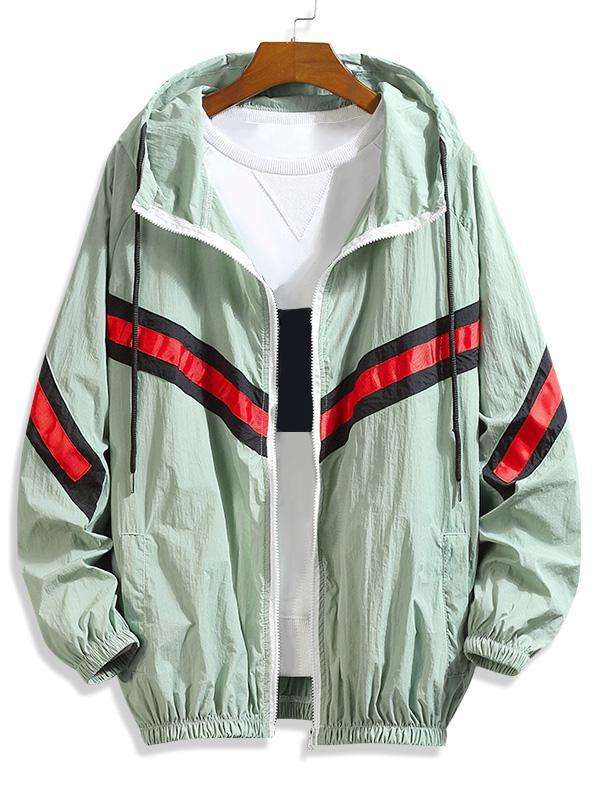 Blocco Di Colore Splicing A Strisce Sunproof Raglan Sleeve Hooded Jacket
