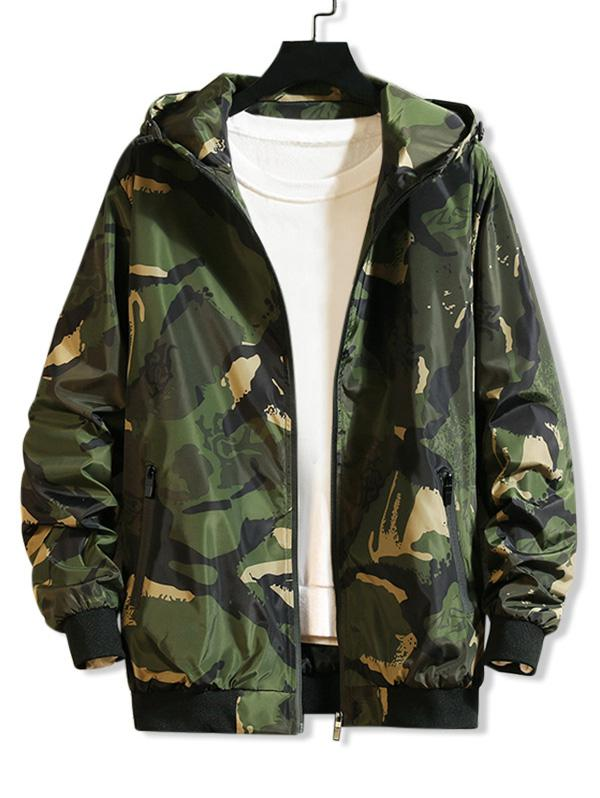 Camouflage Printed Casual Hooded Jacket фото