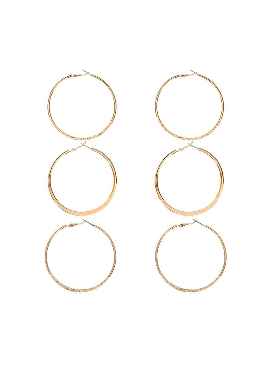 Asymmetric Hoop Earring Set, Gold