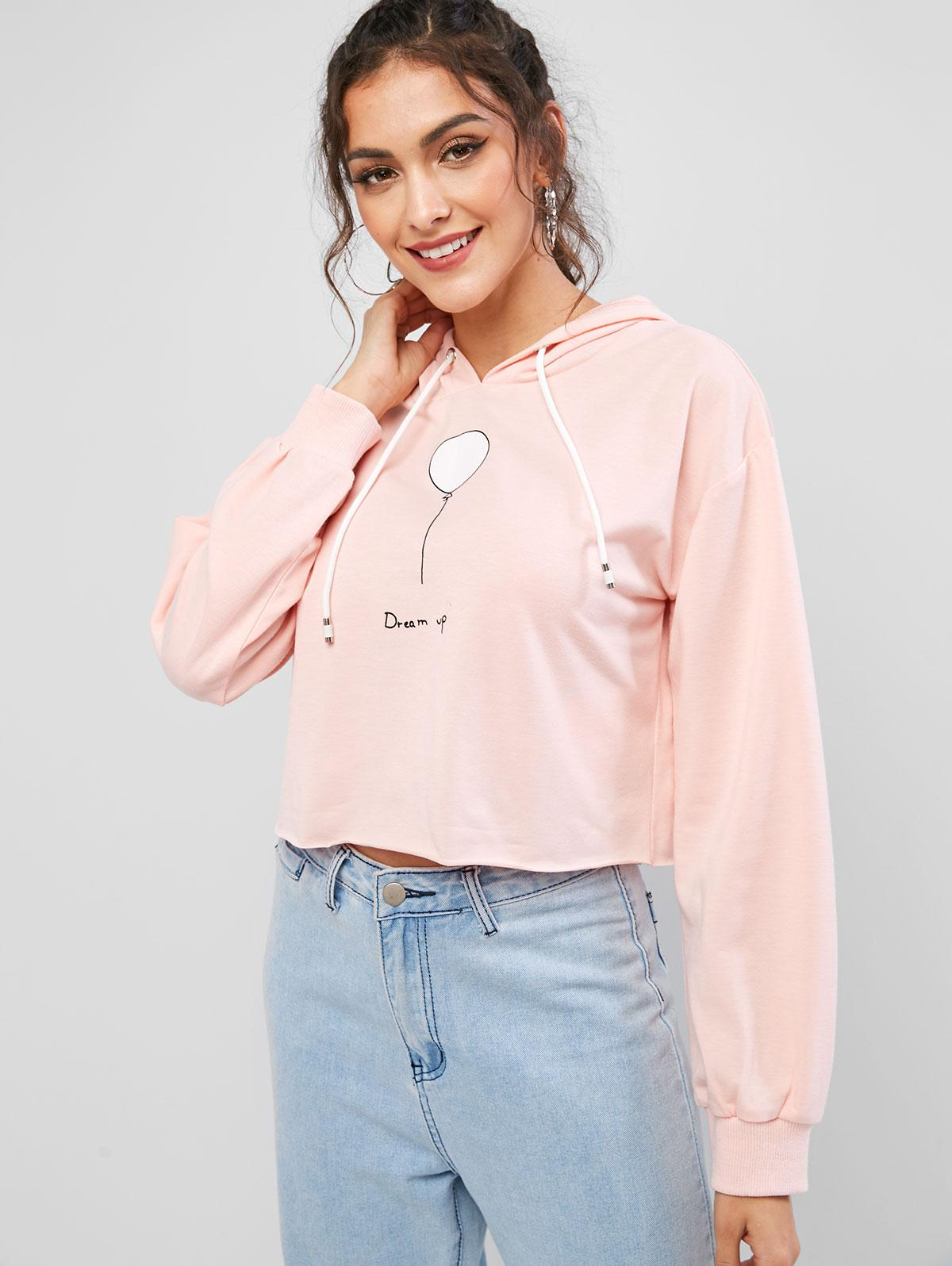 ZAFUL Balloon Dream Up Graphic Cropped Hoodie