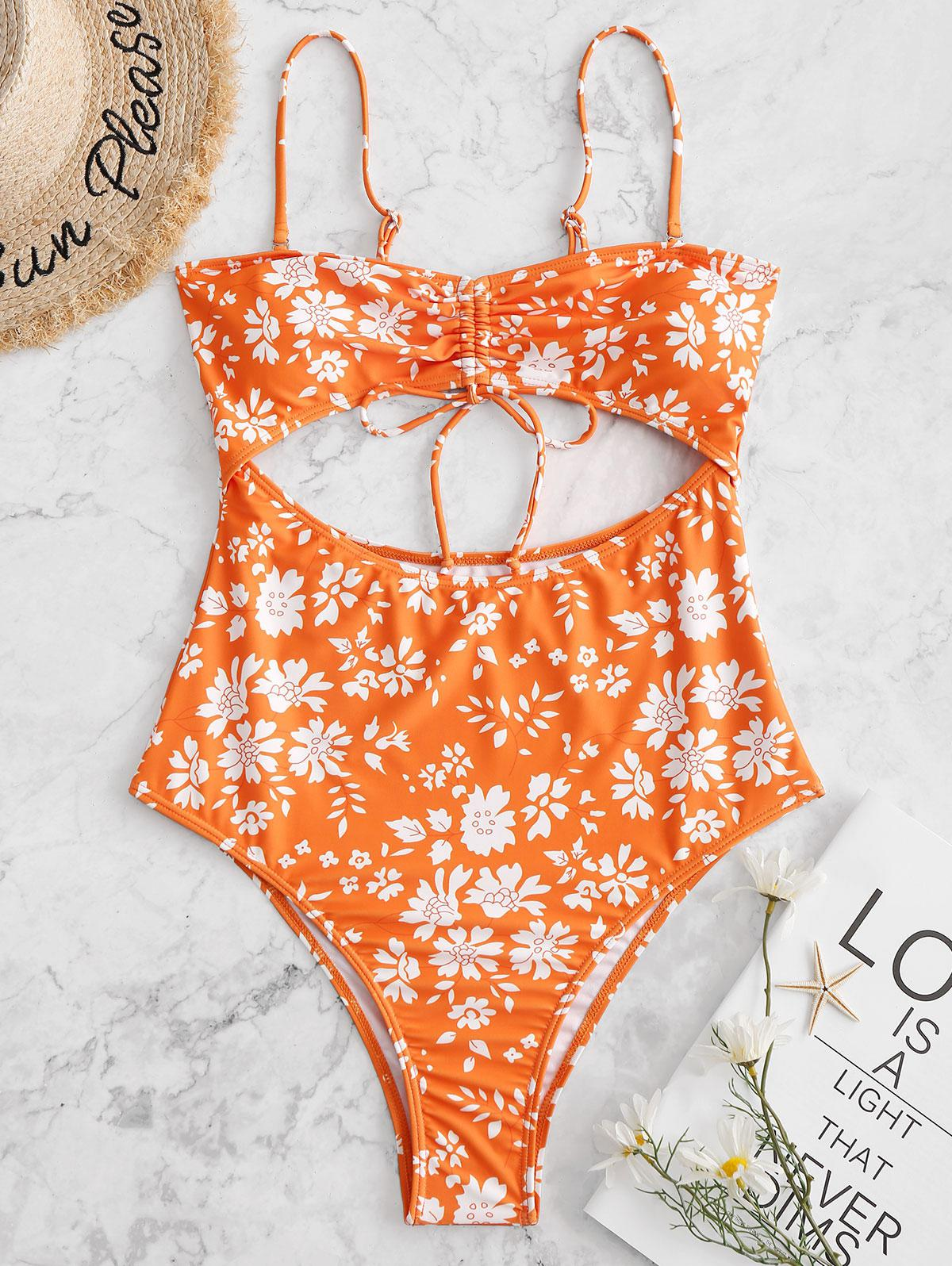 ZAFUL Cut Out Floral High Cut One-piece Swimsuit thumbnail