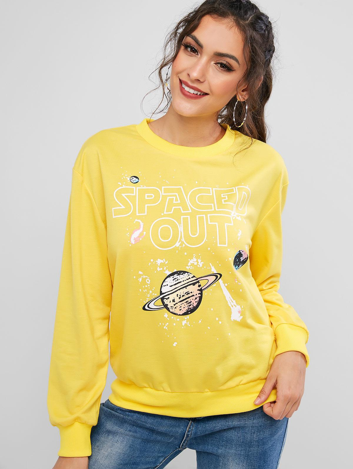 ZAFUL Planet Spaced Out Graphic Funny Ribbed Trim Sweatshirt