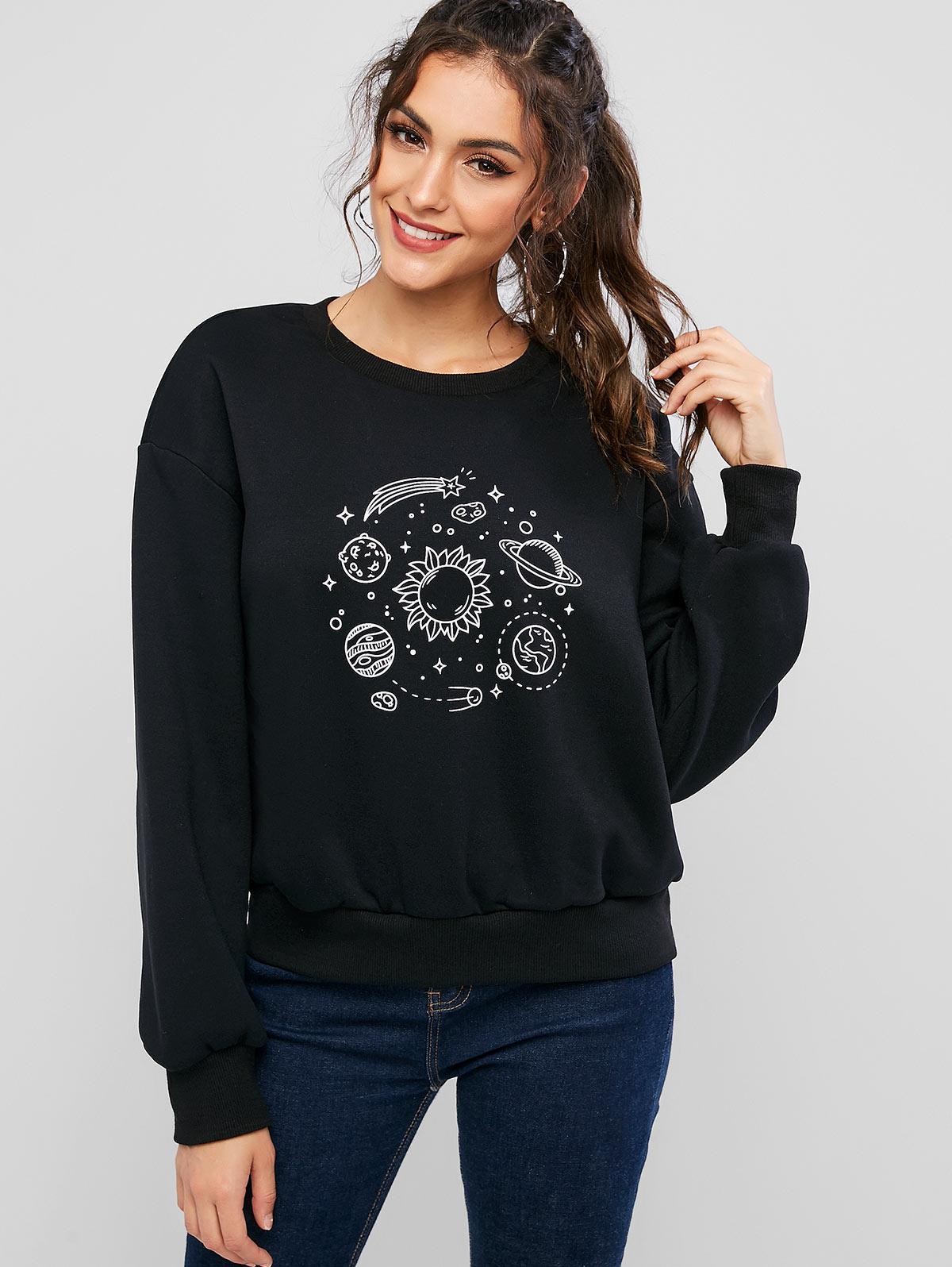 ZAFUL Planet Print Drop Shoulder Fleece Lining Sweatshirt thumbnail