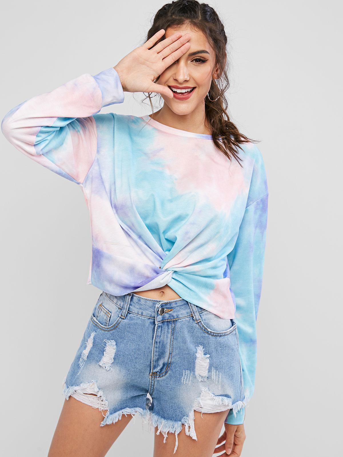 ZAFUL Tie Dye Twisted Raw Cut Drop Shoulder Sweatshirt thumbnail