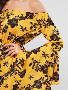 e7e23c7cff25cb 33% OFF] [POPULAR] 2019 ZAFUL Flower Off Shoulder Flare Sleeve Dress ...