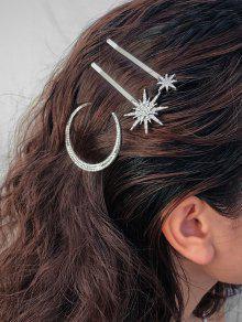 حجر الراين الكامل القمر ندفة الثلج نجمة مجموعة دبوس الشعر - فضة