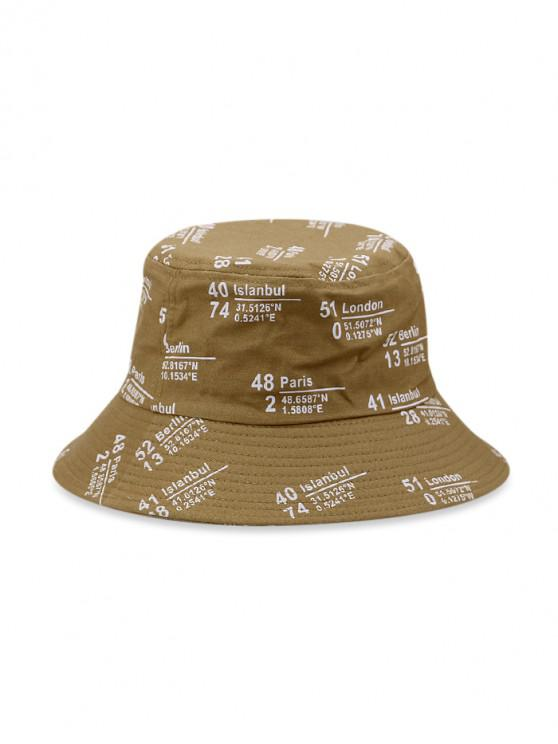 new Number Letter Printed Bucket Hat - KHAKI
