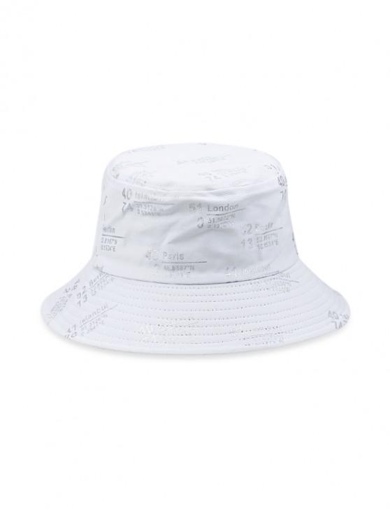 latest Number Letter Printed Bucket Hat - WHITE