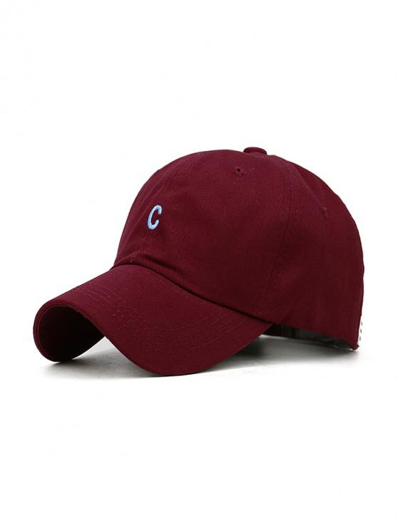 trendy Letter Embroidered Cotton Baseball Cap - RED WINE