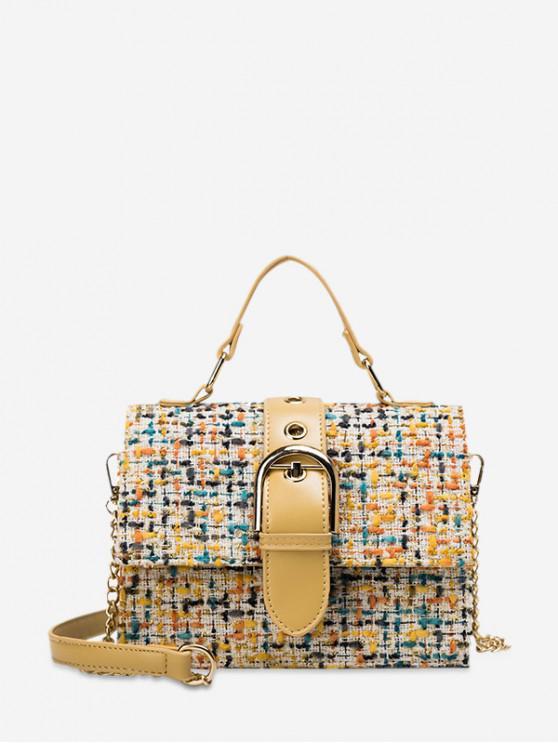 best Buckle Design Woven Crossbody Bag - GOLDENROD
