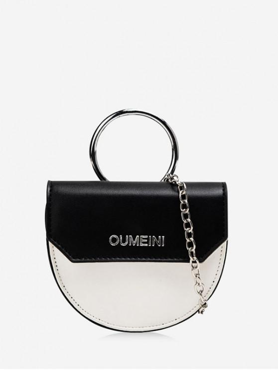 online Semicircle Jointed Character Pattern Bag - BLACK