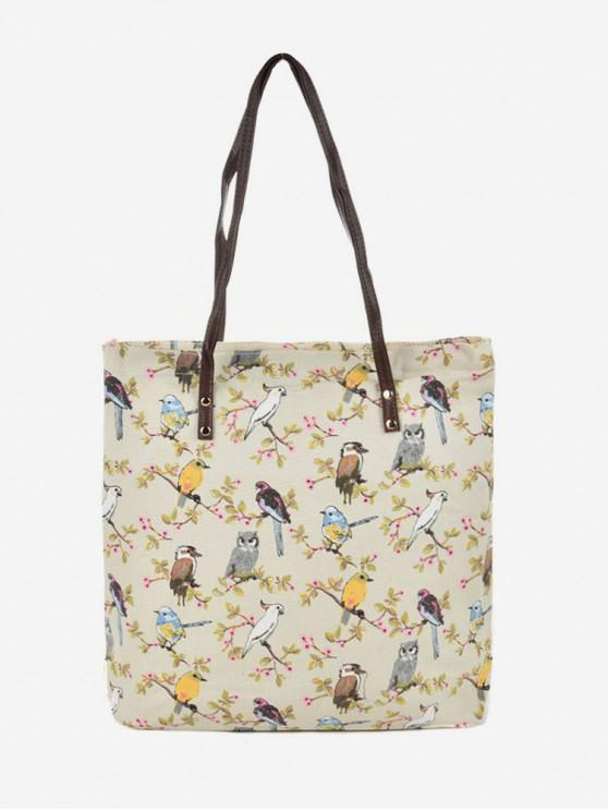 outfit Canvas Pattern Print Tote Bag - GOLDENROD