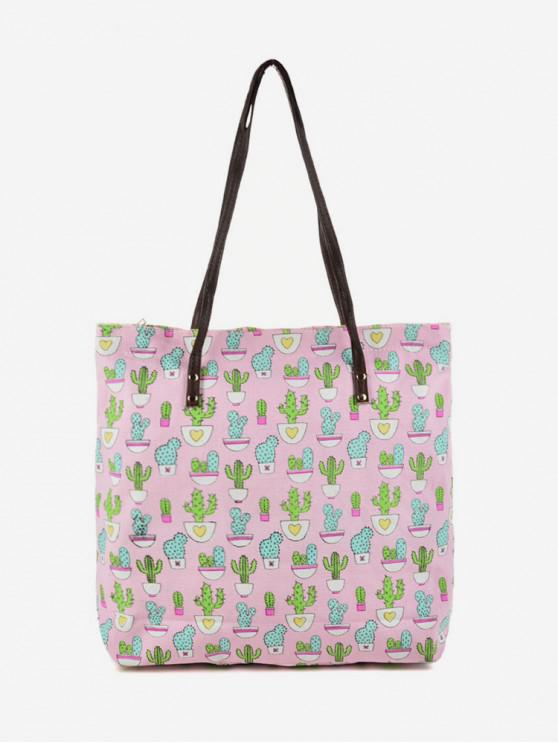 chic Canvas Pattern Print Tote Bag - PINK