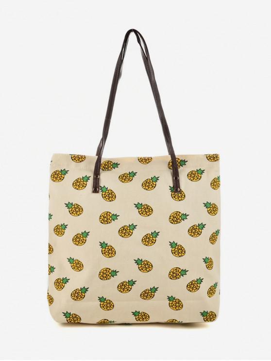 buy Canvas Pattern Print Tote Bag - BEIGE