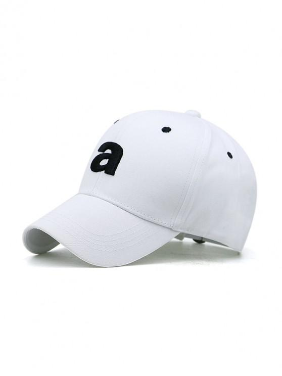 women Embroidery A Letters Sport Baseball Cap - WHITE