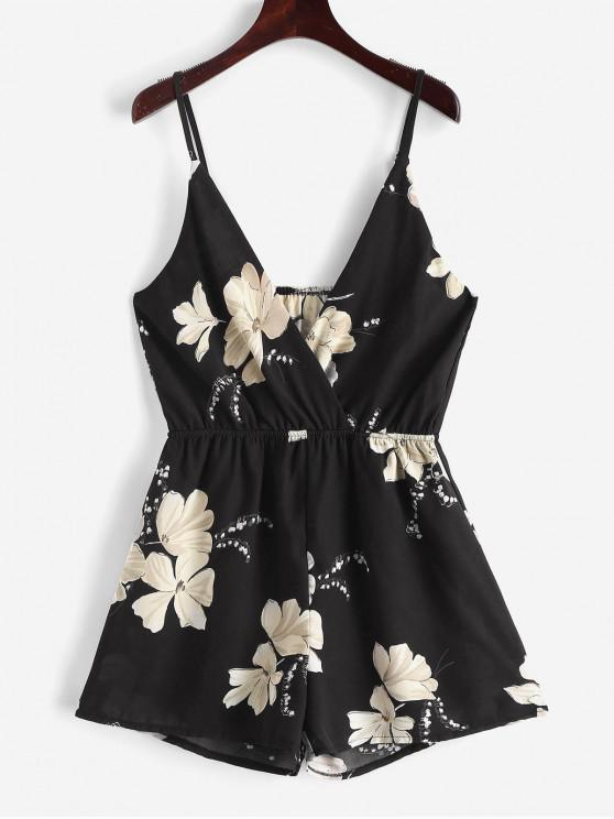 unique ZAFUL Cami Surplice Floral Romper - BLACK S