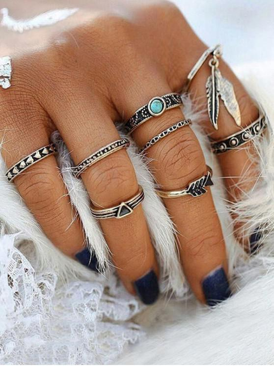new Vintage Wave Feather Finger Rings Set - SILVER