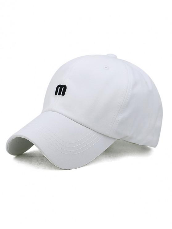 shop M Letter Outdoor Embroidery Baseball Cap - WHITE