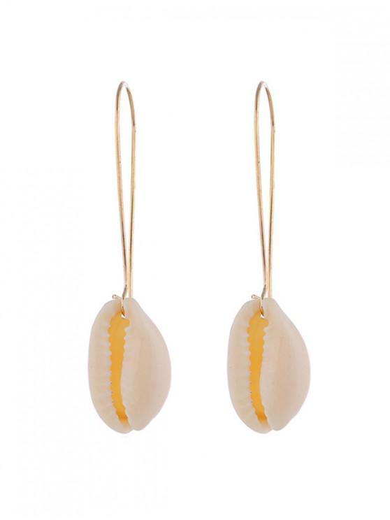 shops Metal Shell Dangle Earrings - GOLD