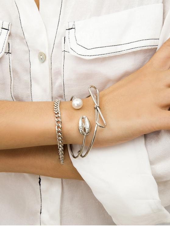 trendy Bow Faux Pearl Shell Cuff Chain Bracelet Set - SILVER