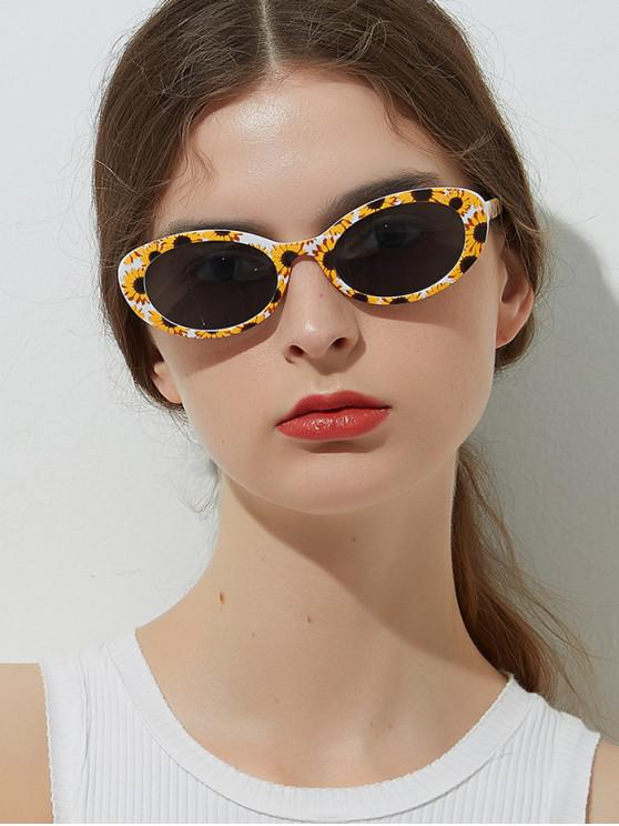 ladies Printed Check Flower Pineapple Oval Sunglasses - BEE YELLOW