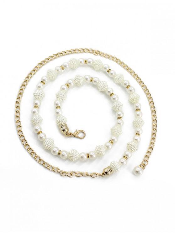 best Metal Faux Pearl Dress Waist Chain - WHITE