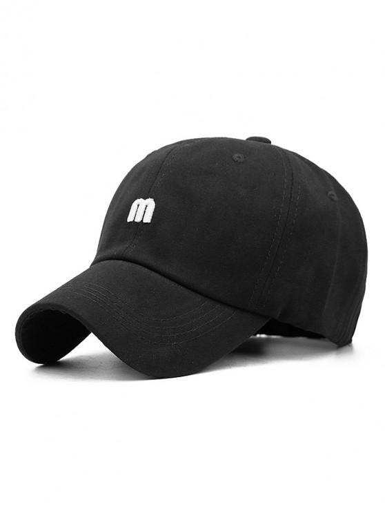 new M Letter Outdoor Embroidery Baseball Cap - BLACK