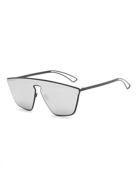 hot Metal Hollow One-piece Sunglasses - PLATINUM