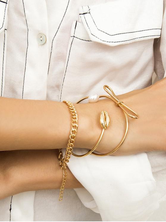 Set di bracciali a catena con polsini in madreperla - Oro