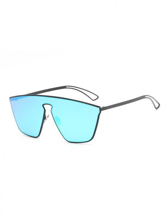 trendy Metal Hollow One-piece Sunglasses - DEEP SKY BLUE