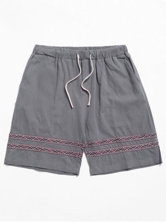 fashion Tribal Print Splicing Casual Shorts - DARK GRAY L