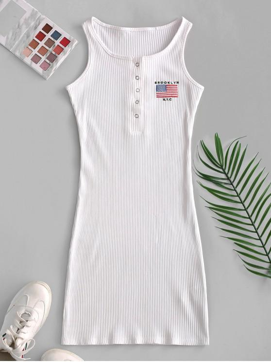 fancy Snap Button Ribbed American Flag Embroidered Dress - WHITE S