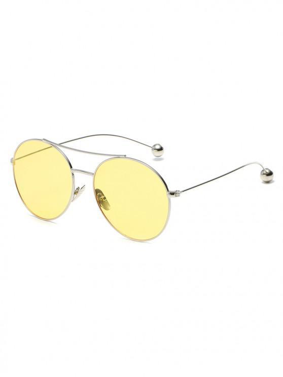 trendy Steel Ball Legs Round Sunglasses - CORNSILK