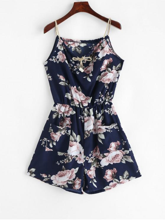 best ZAFUL Pockets Floral Print Braided Straps Romper - DEEP BLUE M