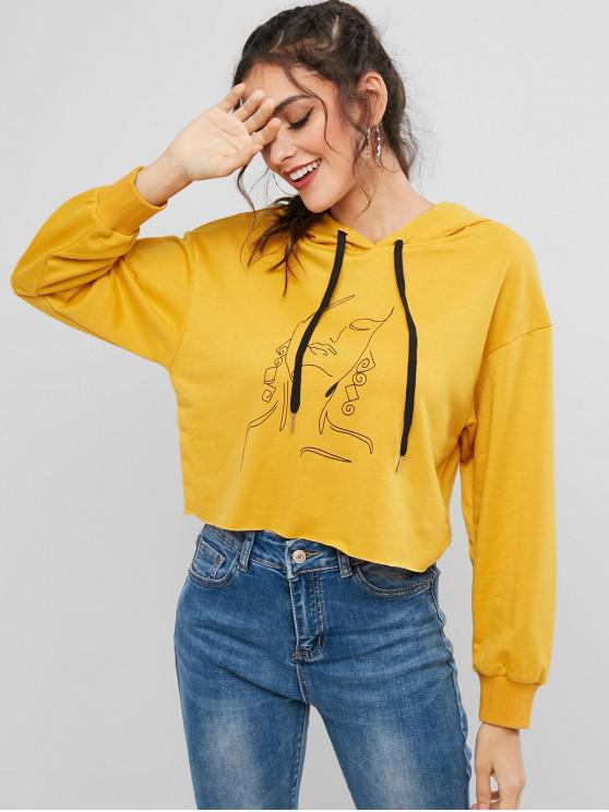 latest ZAFUL Funny Abstract Graphic Raw Cut Drop Shoulder Hoodie - BEE YELLOW L