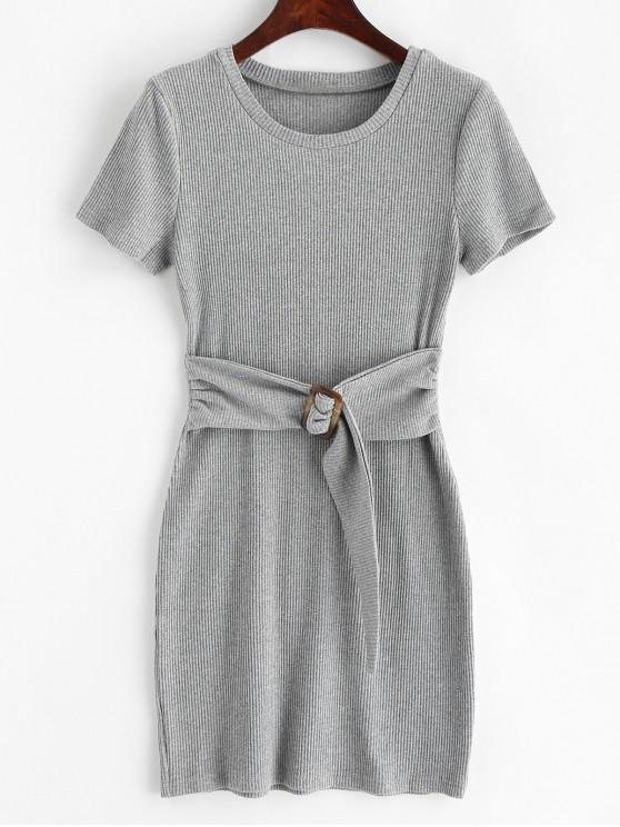 sale Buckle Ribbed Solid Knitted Dress - GRAY M