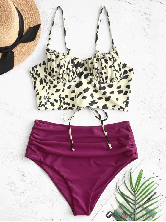 lady ZAFUL Leopard Lace-up Ruched Underwire Tankini Swimsuit - MAROON S