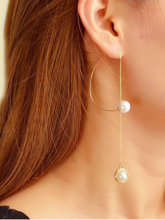 單人造珍珠長鏈耳環 - 金
