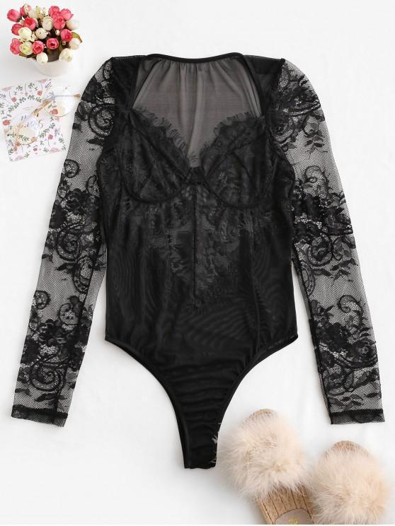 chic Flower Lace Eyelash See Thru Lingerie Teddy - BLACK S