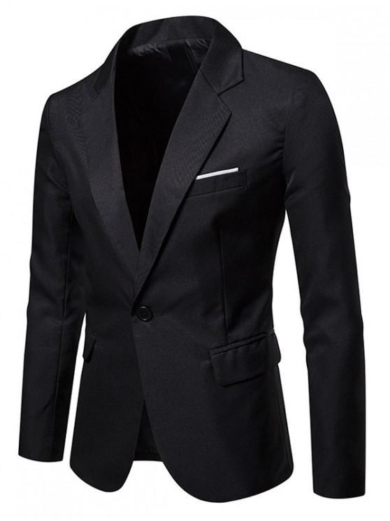 Giacca da abito con spacco laterale con un bottone e taschino - Nero L