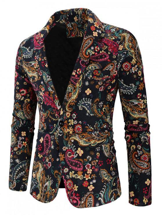 Paisley floral estampado tribal solo botón de hendidura Blazer - Multicolor-B S
