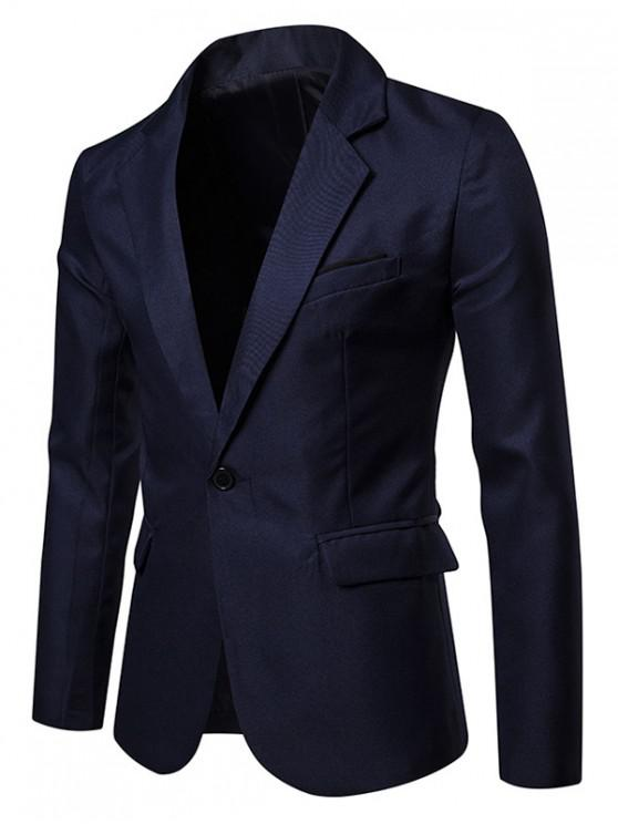 Giacca da abito con spacco laterale con un bottone e taschino - Blu Mezzanotte  L
