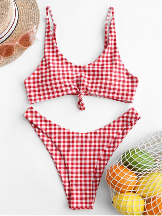 ZAFUL Bikini de pierna alta anudada a cuadros Bikini - Multicolor-I M